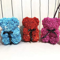 Tutuba Rose Flower Teddy Bear,Artificial Rose Teddy Bear with Sweet Ribbon Bow, Rose Teddy Bear with Gift Box for Valentine' s Day Artificial Flower Love Rose Decoration for Her: Home & Kitchen