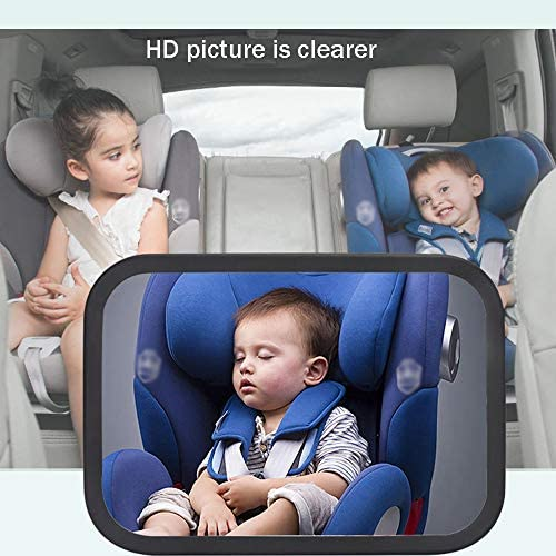 Crystal Clear Baby Car Mirror, Large and Most Stable Backseat Mirror for Baby Child Safety, Essential Car Seat Accessories, Secure and Shatterproof: Home & Kitchen