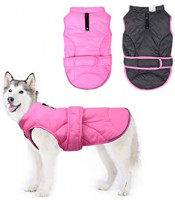 Vehomy Dog Down Coat Waterproof Windproof Reversible Dog Winter Coat Lightweight Warm Dog Jacket Reflective Dog Vest Coat Apparel Cold Weather Dog Clothes for Small Medium Large Dogs Pink-M : Pet Supplies