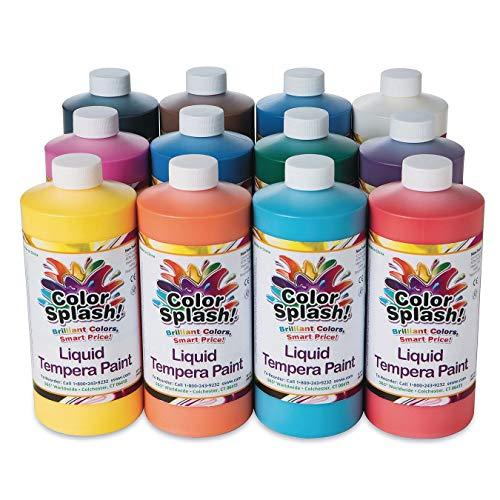 S&S Worldwide LT5 32 oz. Color Splash! Liquid Tempera Paint Assortment (Pack of 12): Industrial & Scientific