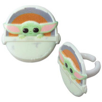 The Mandalorian Yoda Star Wars Cupcake Toppers Party Supplies Rings Package of 24 from Blue Fox Baking: : Grocery & Gourmet Food