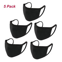 5 PCS Unisex with Comfortable Earloop Individually Washable, Reusable Wrapped Black Cotton: Beauty
