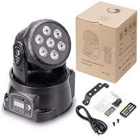 U`King Moving Head Lights 7LED x 10W RGBW 4 Colors with DMX Control and 5 Modes for DJ Disco KTV Stage Lighting - 4 Pack: Musical Instruments