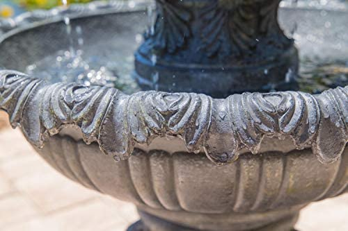 Kenroy Home Classic Outdoor Floor Fountain, 45 Inch Height, 25.5 Inch Width, 25.5 Inch Ext. with Zinc Finish : Garden & Outdoor