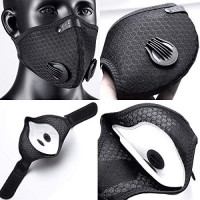 Dust Mask Cycling Mask with 2 Valves and 4 Activated Carbon, for Running, Biking, and Woodworking Mowing Sawdust Outdoor Activitie(Black-nylon)