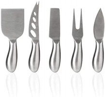 Royal Casa Cheese Knives and Slate Markers Set. Complete Cheese Board Set with 5 Stainless Steel Knives and 6 Slate Cheese Markers. Includes 2 soapstone chalks & cloth bag. Perfect Gift Idea: Kitchen & Dining