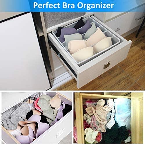4 Pcs Foldable Drawer Organizer, GOGOODA Desk Closet Organizer and Storage Drawer Dividers for Underwear Bra Socks(Grey): Home Improvement
