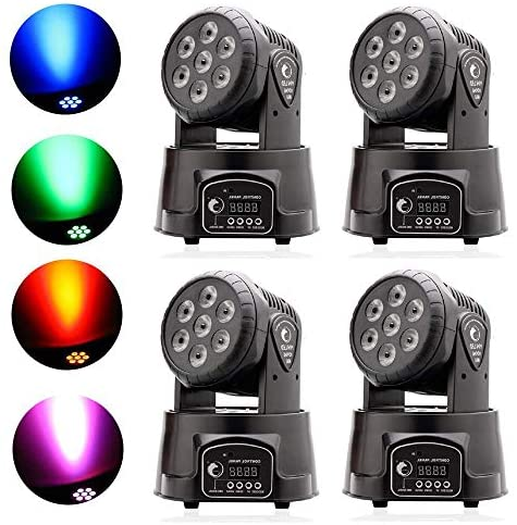 U`King DJ Moving Head Lights RGBW LED Stage Lighting by Sound Activated Control Rotating Auto Running Spotlight for Wedding Party Disco Show Bars Concert: Musical Instruments