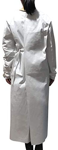 Sendry Unisex Disposable Isolation Suit - Protective Clothing,Anti-Static Waterproof Anti-Fog Dust-Proof Protective Coverall Non-Woven Protection Gown with 10PC Face Cover - Pack of 10: Home & Kitchen
