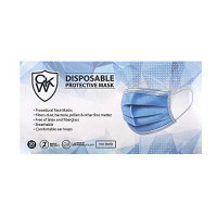 3 Ply Disposable Protective Mask, 50 Masks in Box, Blue: Industrial & Scientific