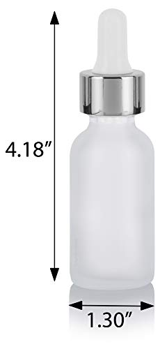 1 oz Frosted Clear Glass Boston Round Bottle with Silver Metal and Glass Dropper (12 pack) + Funnel for Essential oils, Aromatherapy, E-liquid, Food grade, BPA free : Beauty