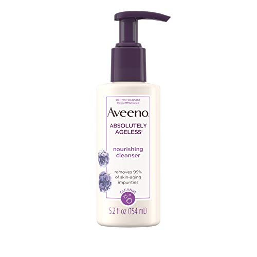 Aveeno Absolutely Ageless Nourishing Daily Facial Cleanser with Antioxidant-Rich Blackberry Extract, Non-Comedogenic Face Wash from Dermatologist-Recommended Brand, 5.2 fl. oz: Beauty
