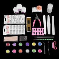 Nail Kit Acrylic Set for Beginners, Professional Nail Kit Set Nail Tips Brush Buffer Glue Powder Glitter DIY Nail Art Tools Supplies (Nail Kit) : Beauty