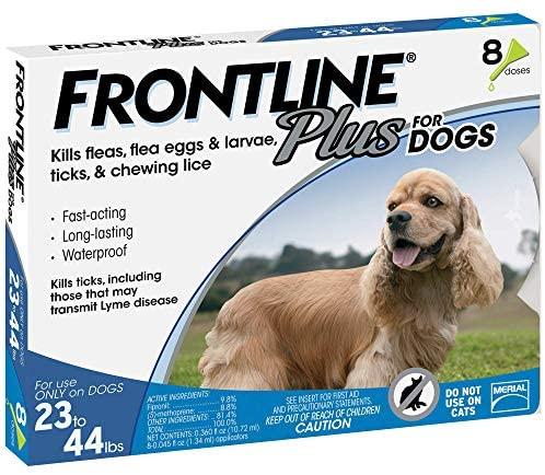 Frontline Plus for Medium Dog (23-44 pounds) Flea and Tick Treatment, 8 Doses : Pet Supplies