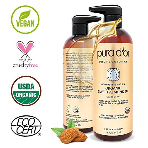 PURA D'OR Organic Sweet Almond Oil 16oz USDA Certified Organic 100% Pure & Natural Hexane Free Soothing Vitamin E Oil for Skin & Face, Facial Polish, Full Body, Massages, DIY Base (Packaging may vary): Beauty