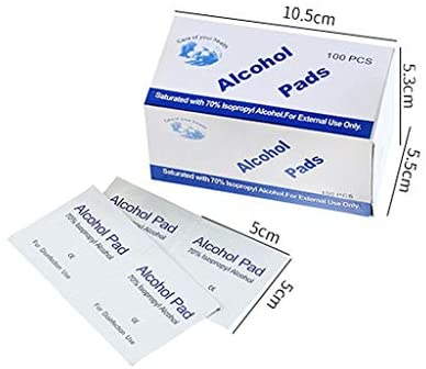 Alcohol Pads, 100Pcs Alcohol Prep Pads Wipes, Individually Wrapped Alcohol Wipes Pack for Smartphone & Portable Devices Cleaning, Thick Alcohol Swabs Myopia Lens Wipes, 75% Alcohol Cotton Pads: Health & Personal Care