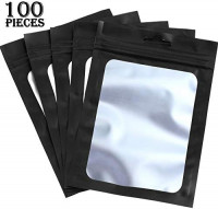 100 Pieces Resealable Mylar Ziplock Food Storage Bags with Clear Window Coffee Beans Packaging Pouch for Food Self Sealing Storage Supplies (Black, 3 x 4.7 Inch): Kitchen & Dining