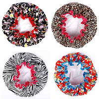Shower Caps, Alimu 4 Pack Women Bath Caps Waterproof Double Layer Print Shower Hat Long Hair Perfect for Women : Beauty