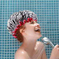Shower Caps, Alimu 4 Pack Women Bath Caps Waterproof Double Layer Print Shower Hat Long Hair Perfect for Women : Beauty