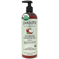PURA D'OR Organic Fractionated Coconut Oil (16oz / 473ml) USDA Certified 100% Pure & Natural MCT Oil Sustainably Sourced Hexane Free Moisturizing Carrier Oil For Face, Skin & Hair (Packaging may vary): Beauty
