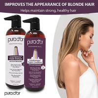 PURA D'OR ColorHarmony Purple Shampoo & Conditioner Biotin Set (16oz x 2) For Bleached, Blonde, Silver & Color Treated Hair - Keratin, Bamboo Fiber, Sulfate Free, Natural Ingredients - Men & Women : Beauty