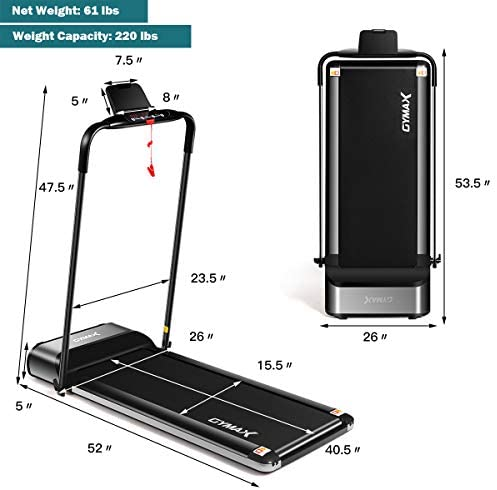 GYMAX Folding Treadmill, Slim Foldable Exercise Running Walking Machine with LCD Monitor & Tablet/Phone Holder, Ultra-Thin Installation-Free Treadmill for Home/Gym : Sports & Outdoors