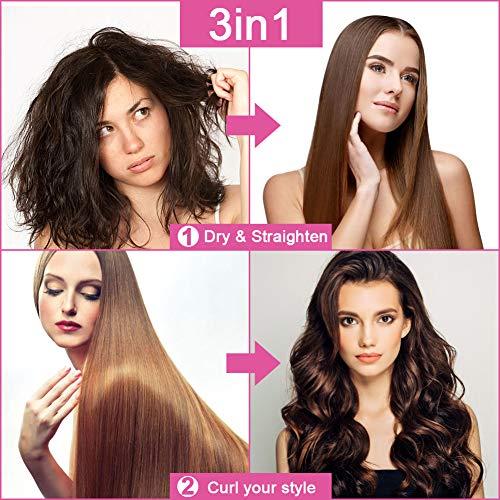 One Step Hair Dryer and Styler Volumizer, Upgrade Hair Dryer Brush Hot Air Brush, 3-in-1 Hair Straightener Brush for Fast Drying, Straightening, Curling, Rotating for Woman, Kids : Beauty