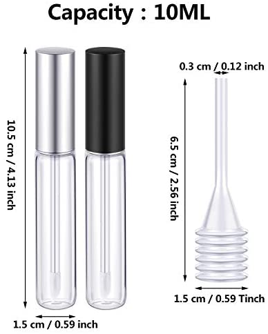 20 Pieces 10ml Lip Gloss Tubes Empty Lip Gloss Containers Clear Lip Balm Bottle with Rubber Stoppers and 2 Pieces Funnels for Women Girls DIY Tool