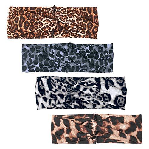 DINPREY Animal Print Headband Leopard print Headbands Sports Yoga Headband Cheetah Head Wrap for Womens (4 Pack Leopard Print) : Beauty