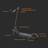 Segway Ninebot MAX Electric Kick Scooter, Up to 40.4 Miles Long-range Battery, Max Speed 18.6 MPH, Foldable and Portable, Dark Grey : Sports & Outdoors