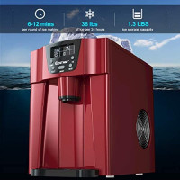 COSTWAY 2 in 1 Countertop Ice Maker with Built-in Water Dispenser, Produces 36 lbs Ice in 24 Hours, Ready in 6 Mins, with LCD Control Panel, Portable Ice Cube Machine for Home, Bar, Party (Red): Kitchen & Dining