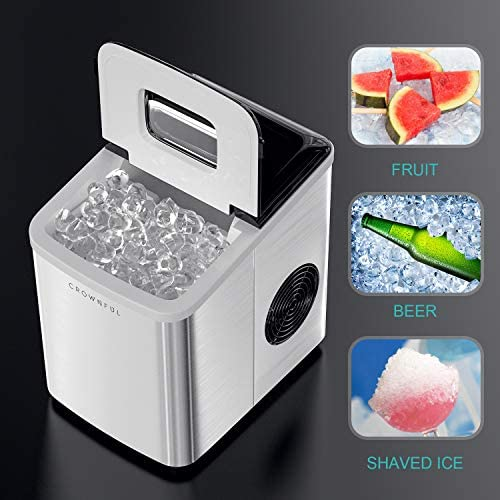 Crownful Ice Maker Machine for Countertop, 9 Ice Cubes Ready in 8-10 Minutes, 26lbs Bullet Ice Cubes in 24H, Electric Ice Maker with Scoop and Basket: Appliances
