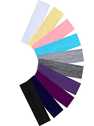 Tie Dye Headbands Cotton Stretch Headbands Elastic Yoga Hairband for Teens Girls Women Adults, Assorted Colors, 10 Pieces (Black, Grey) : Beauty