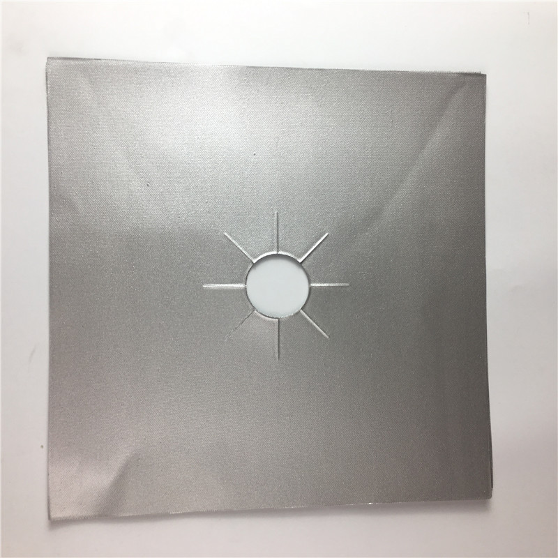 Thick Silver 0.2mm27*27cm Square Gas Stove Cover Teflon Gas Stove Protection Mat