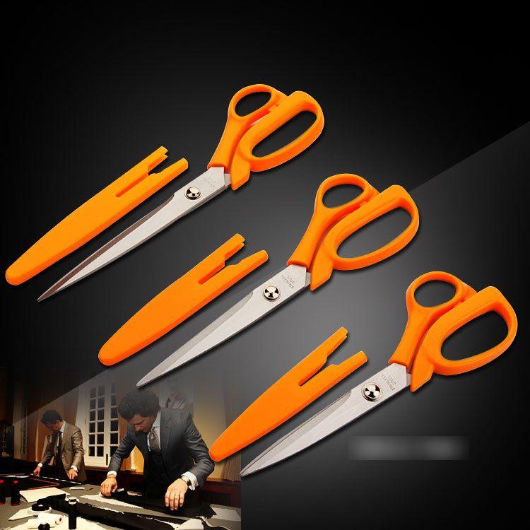 Orange Softgrip Scissors Straight Stainless Steel,