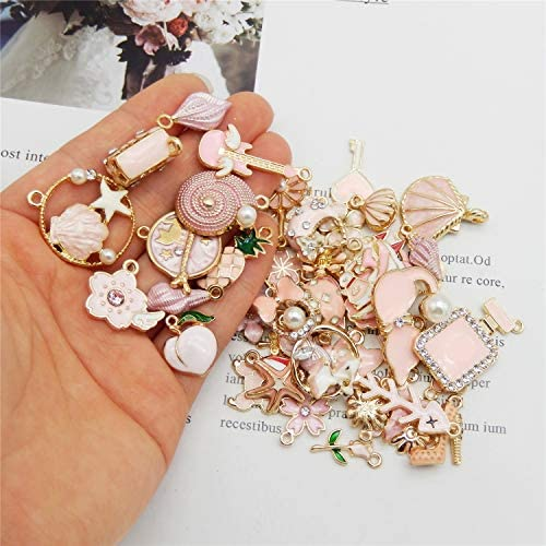 M347 WOCRAFT 60pcs Assorted Gold Plated Pink Enamel Charm Pendant for DIY Jewelry Making Necklace Bracelet Earring DIY Jewelry Accessories Charms