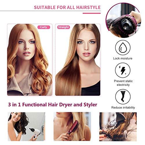 Hair Dryer Brush, LEMOCA Hot Air Brush 3 in 1 Hair Dryer & Volumizer Styler for Rotating Straightening, Curling, Salon Negative Ion Ceramic Blow Dryer Brush for All Hair Types(2020 Upgrade) : Beauty
