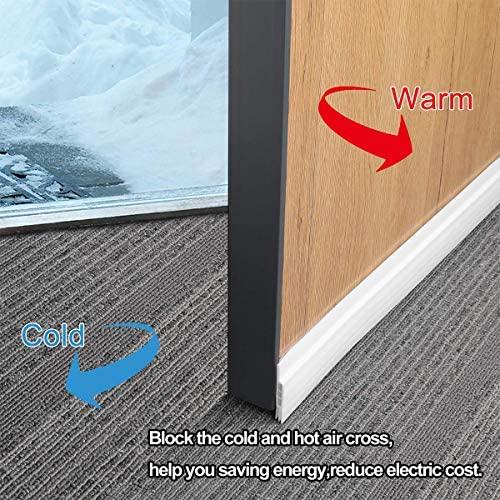 "Suptikes 2 Pack Door Draft Stopper,Door Sweep for Exterior & Interior Doors, Door Bottom Seal Dust and Noise Insulation Weather Stripping Draft Guard Insulator, 1-4/5"" W x 37"" L, White"