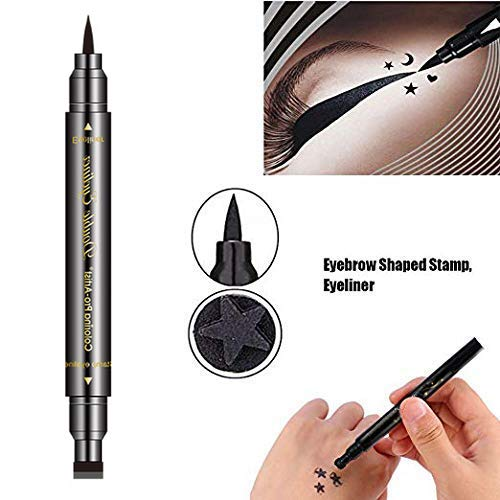 Double-Ended Eyeliner Stamp Pen - Waterproof Long Lasting Eye Decoration Cosmetic Black Eyeliner Pencil (Heart/pentagram/triangle/moon/flower Shape Stamp Pen, 5 Styles/Set) : Beauty