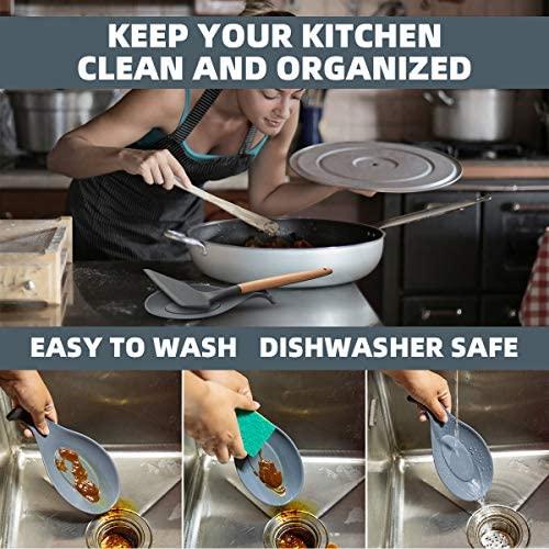 iNeibo Kitchen Silicone Spoon Rest, Flexible Almond-Shaped, Silicone Kitchen Utensil Rest Ladle Spoon Holder (Gray Black Big): Kitchen & Dining