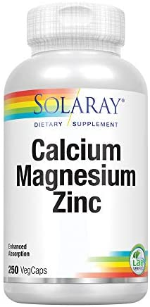 Solaray Calcium, Magnesium, Zinc | High Absorption with Glutamic Acid | Healthy Bones, Teeth, Nerve, Muscle, Heart & Immune Function Support (275 CT): Health & Personal Care
