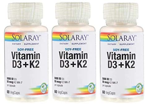 SolaRay Vitamin D3+K2 with 5000 IU Vitamin D3 and 50 Micrograms K2 MK-7 as a Soy-Free Dietary Supplement (60 VegCaps) Pack of 3: Health & Personal Care