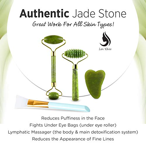 Jade Roller and Gua Sha Tool Set 4 in 1   Effective Anti-aging Beautiful Skin Detox Reduces Wrinkles Massages Face Eyes & Neck to Achieve Beautiful Skin   Original Natural Jade Stone Kit: Beauty