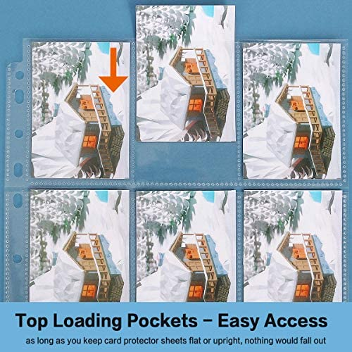 HERKKA Trading Card Sleeve Pages, 100 Pack 9 Pocket Trading Card Storage Album Pages 11 Holes Fit 3 Ring Binder : Office Products