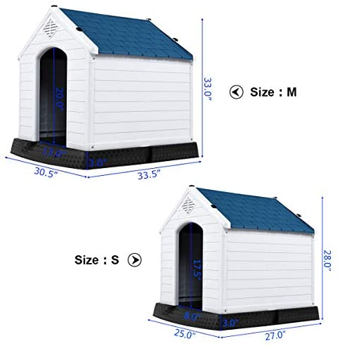 Toolsempire Dog House Plastic Durable Waterproof with Air Vents and Elevated Floor Pet House - Easy to Assemble Puppy Shelter Kennel Perfect for Backyards (M): Garden & Outdoor