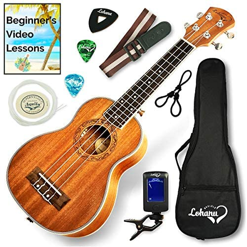 Ukulele Soprano Size Bundle From Lohanu (LU-S) 2 Strap Pins Installed FREE Uke Strap Case Tuner Picks Hanger Aquila Strings Installed Free Video Lessons BEST UKULELE BUNDLE DEAL Purchase Today!: Musical Instruments