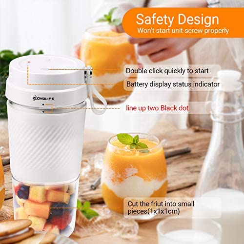 ZOYOLIFE Portable Blender Mini Personal Blender With USB Rechargeable, Juicer Smoothie Blender Smoothie Maker Cordless BPA Free Small Juicer Cup Mixer, Magnetic Charging Plug, 13.5oz/400ml, Home Outdoor Travel Office: Kitchen & Dining