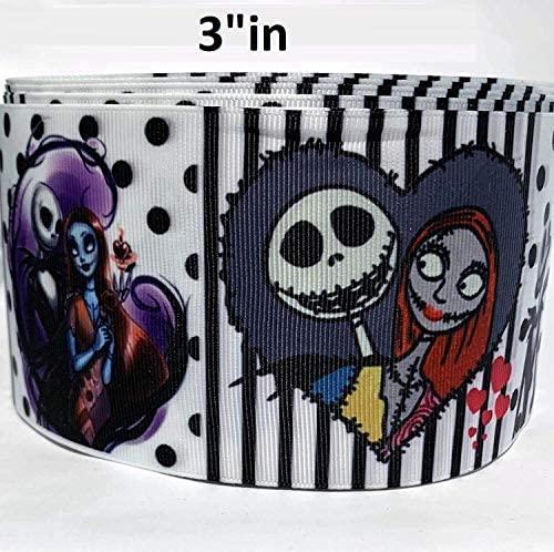 """Grosgrain Ribbon 3"""" in Nightmare Before Christmas Halloween Skulls Printed Per Yard"""
