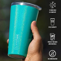 Brümate Imperial Pint 20oz Shatterproof Double Wall Vacuum Insulated Stainless Steel Travel & Camping Mug for Beer, Cocktails, Coffee & Tea with Splash-Proof Lid for Men & Women (Glitter Peacock): Kitchen & Dining