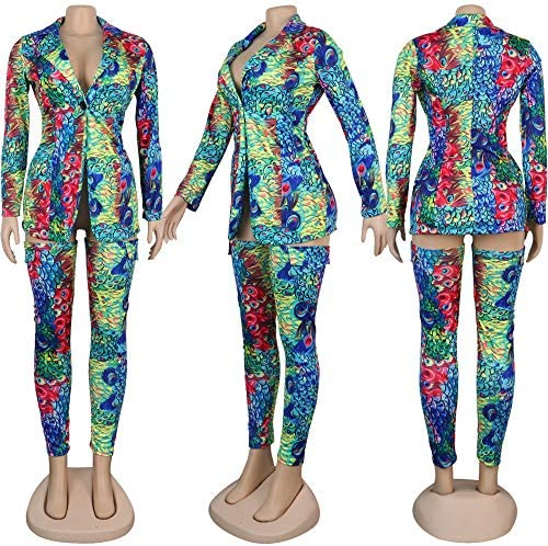 Ophestin Womens Sexy 2 Piece Outfits Floral Leopard Print Long Sleeve Blazer Over Knee Tights Legging Pants Set: Clothing